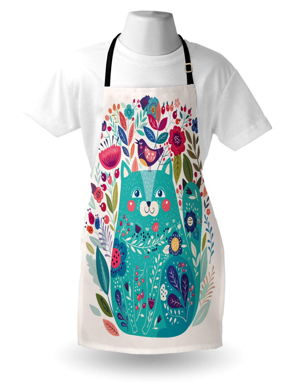 Katze Kochschürze Kitty mit Blume und Vogel Höhenverstellbar Klare Farben