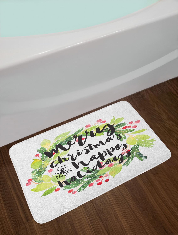 "Festive Holiday Bath Mat Bathroom Decor Plush Non-Slip Mat 29.5/"" X 17.5/"""