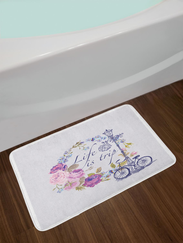 "Shabby Chic Bath Mat Bathroom Decor Plush Non-Slip Mat 29.5/"" X 17.5/"" Ambesonne"