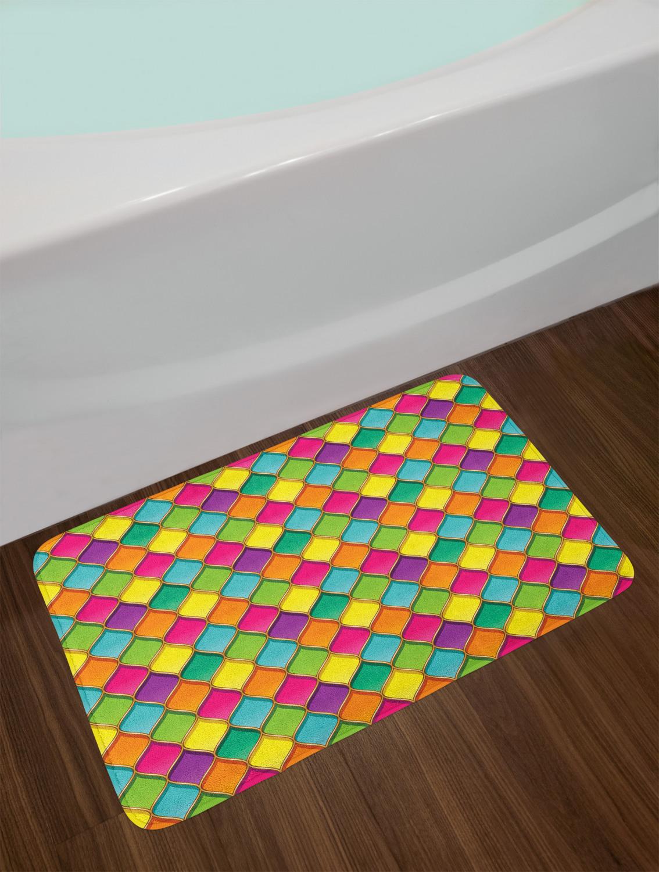 "Abstract Geometry Bath Mat Bathroom Decor Plush Non-Slip Mat 29.5/"" X 17.5/"""