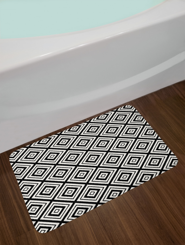 "Black and White Bath Mat Bathroom Home Decor Plush Non-Slip Mat 29.5/"" X 17.5/"""