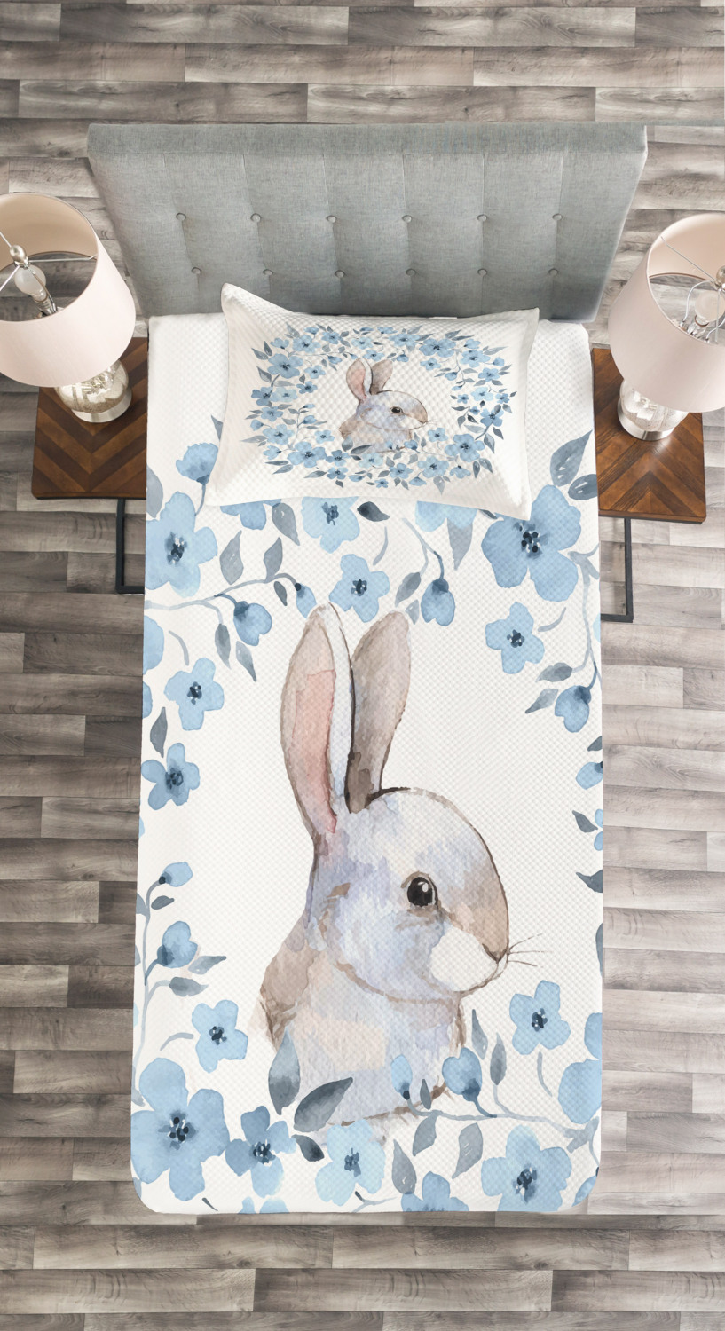Rabbit Portrait Print Country Quilted Bedspread /& Pillow Shams Set