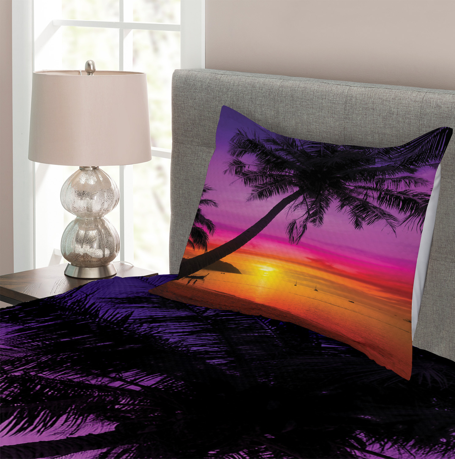 Palm Shadow at Sunset Print Tropical Quilted Bedspread /& Pillow Shams Set