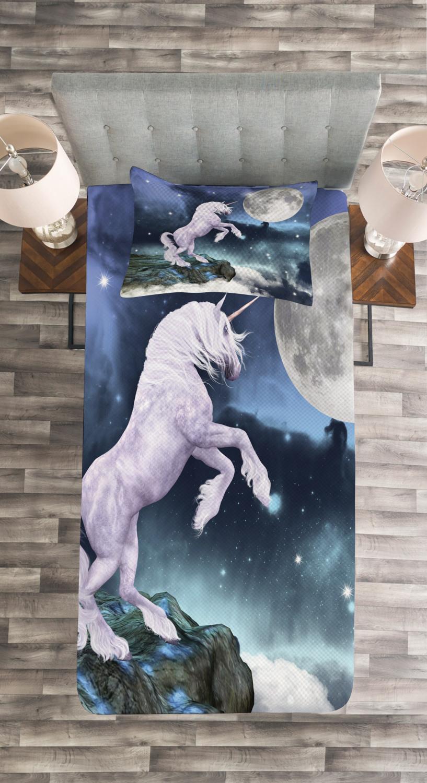 Unicorn Quilted Bedspread /& Pillow Shams Set Rock Up Cliffs Image Print