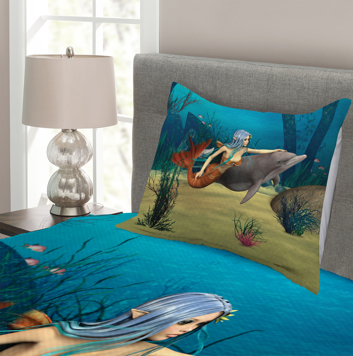 Ocean Quilted Bedspread /& Pillow Shams Set Dolphin Fish Mermaids Print