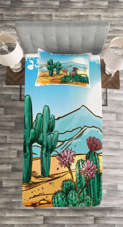 Cactus Quilted Bedspread /& Pillow Shams Set Cartoon Vector Design Print