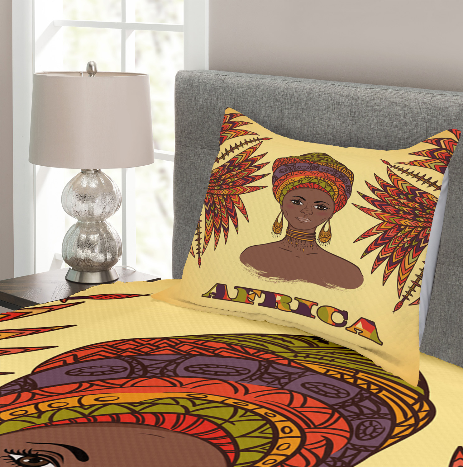 Turban Palms Cultural Print African Quilted Bedspread /& Pillow Shams Set