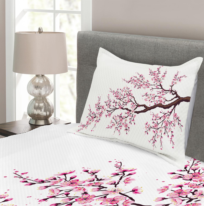 Japanese Quilted Bedspread /& Pillow Shams Set Sakura Branch Blossoms Print