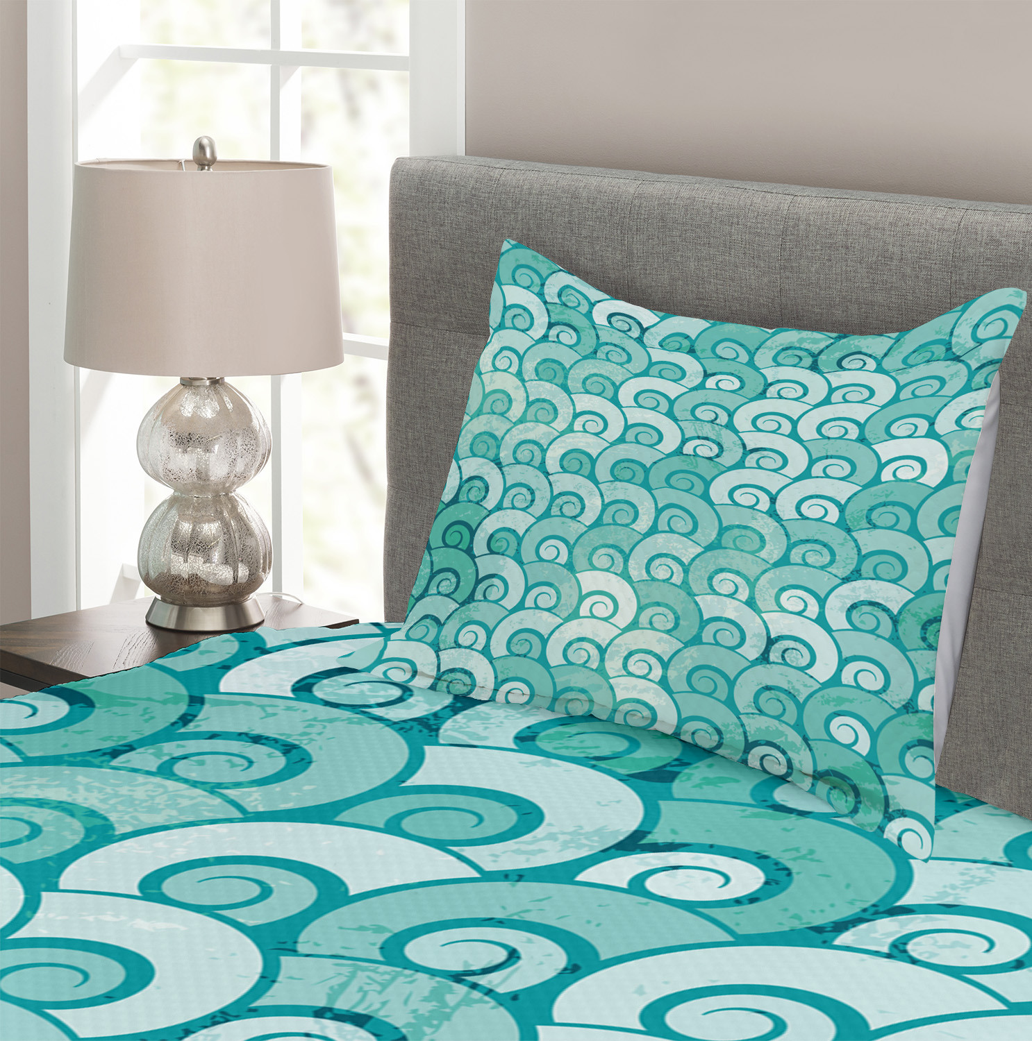Swirled Spiral Sea Waves Print Ocean Quilted Bedspread Pillow Shams Set Quilts Bedspreads Coverlets Home Garden
