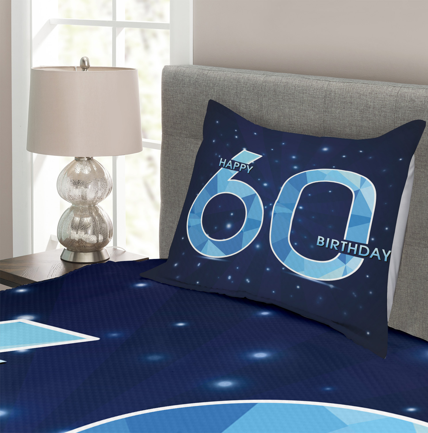 Details about  /Party Quilted Bedspread /& Pillow Shams Set Birthday 60 Stars Print