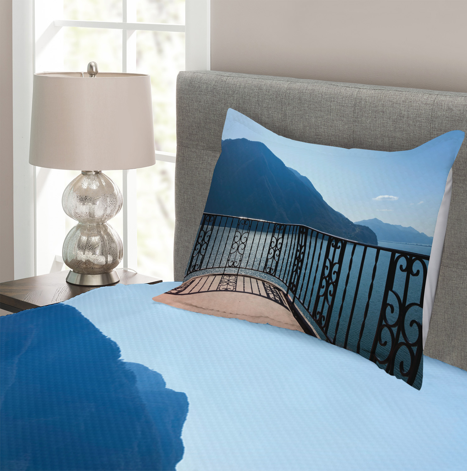 Details about  /Blue Quilted Bedspread /& Pillow Shams Set Island Mountain Ocean View Print