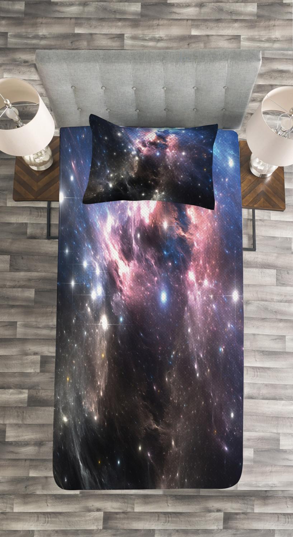 Vivid Supernova Print Details about  /Constellation Quilted Bedspread /& Pillow Shams Set