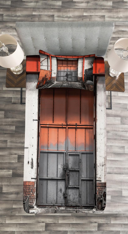 Industrial Tagesdecke und Kissenbezüge Set Old Gate Entrance Druck
