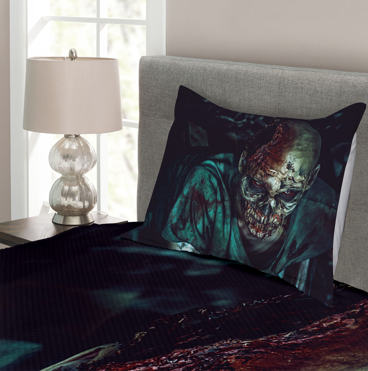 Fearful Vampire Print Zombie Quilted Bedspread /& Pillow Shams Set