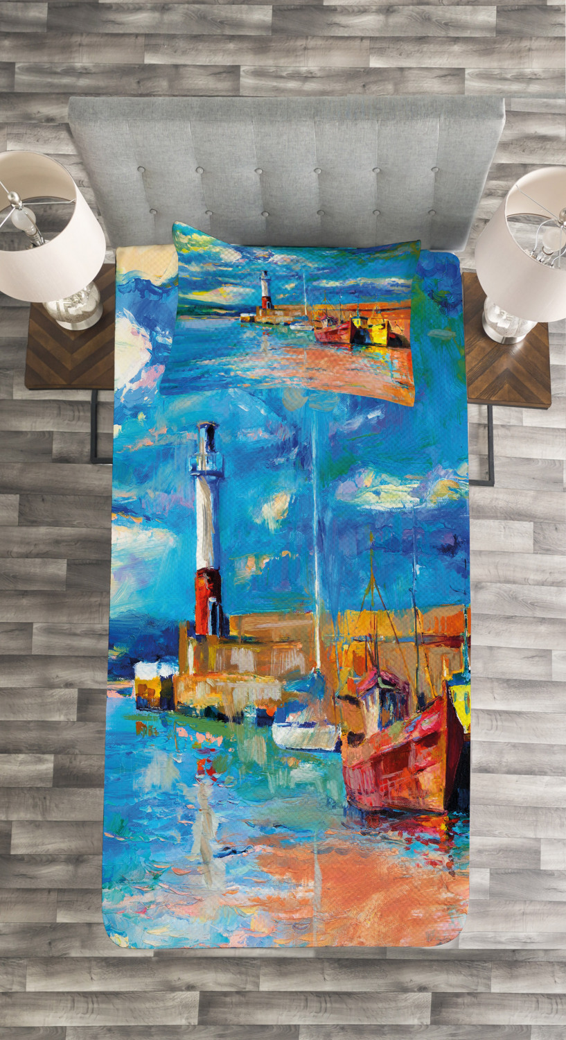 Art Quilted Bedspread /& Pillow Shams Set Oil Painting Lighthouse Print