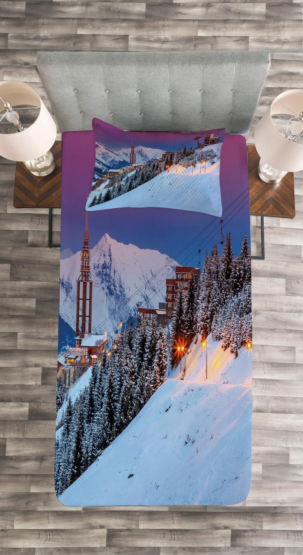 Majestic Sunrice Ski Print Winter Quilted Bedspread /& Pillow Shams Set