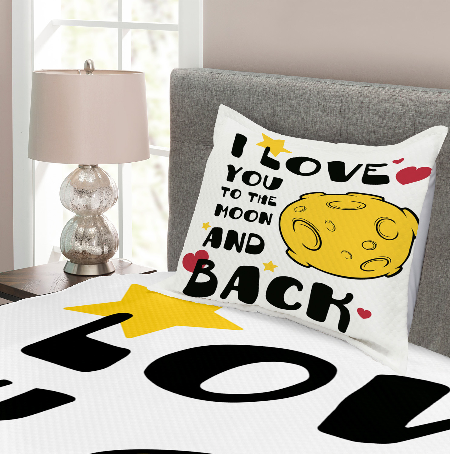 Details about  /I Love You Quilted Bedspread /& Pillow Shams Set Romance on the Moon Print