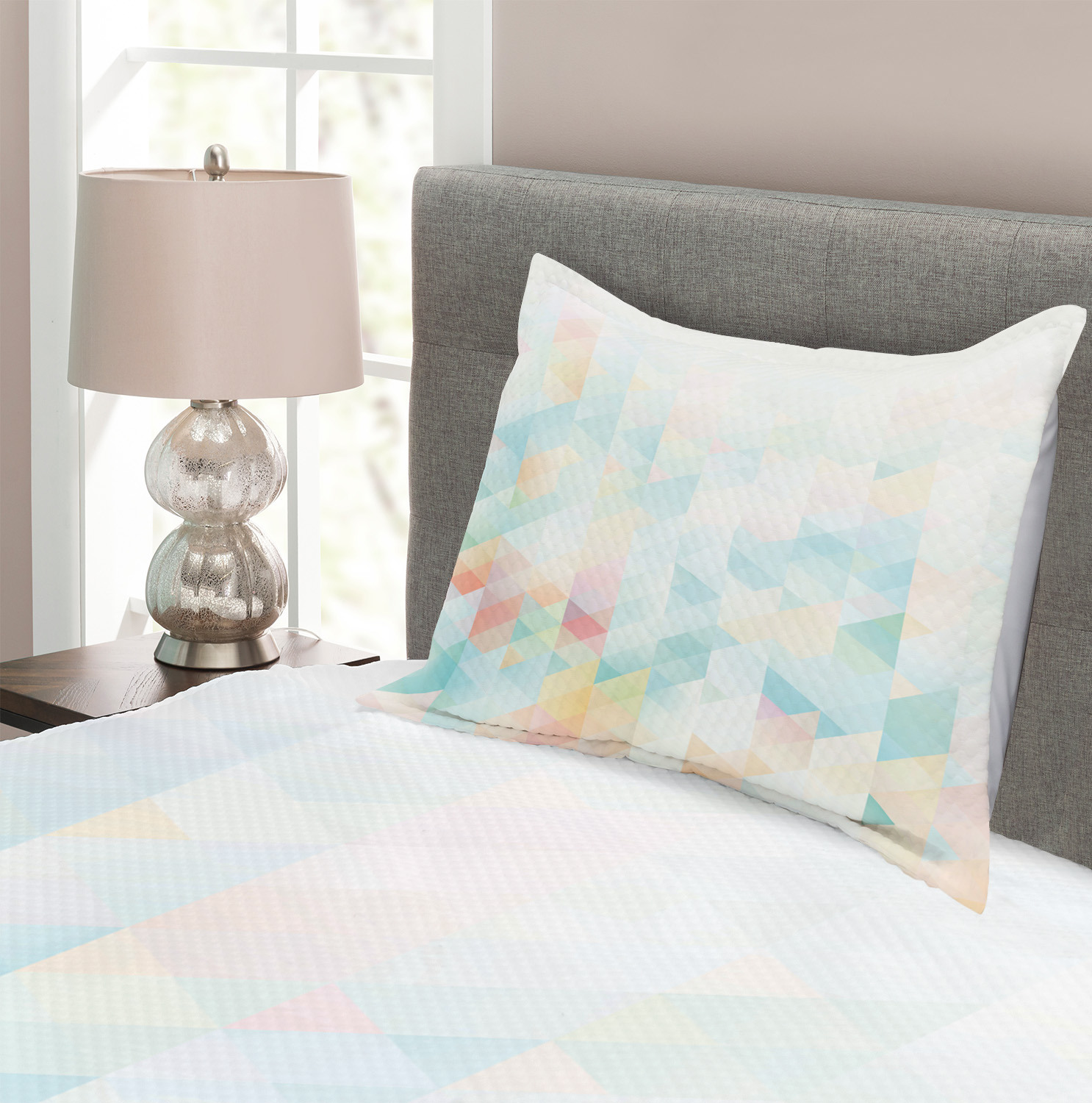 Geometrical Futuristic Print Details about  /Abstract Quilted Bedspread /& Pillow Shams Set