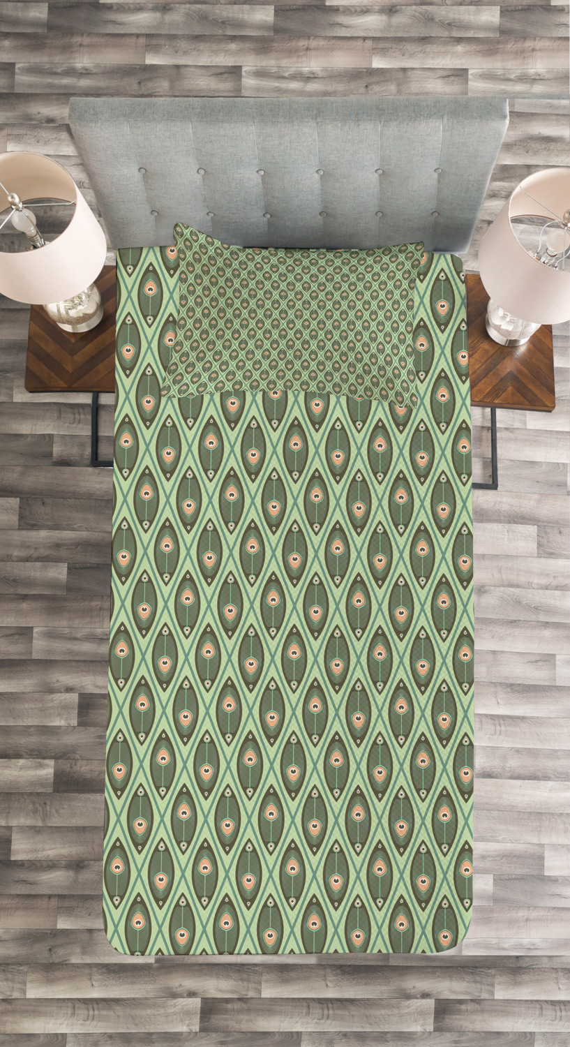 Peacock Feathers Print Geometric Quilted Bedspread /& Pillow Shams Set