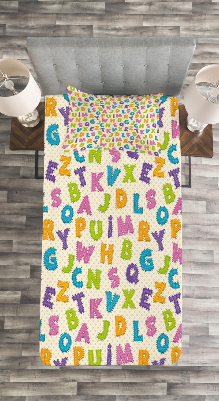Cute Letters Alphabet ABC Print Kids Quilted Bedspread /& Pillow Shams Set
