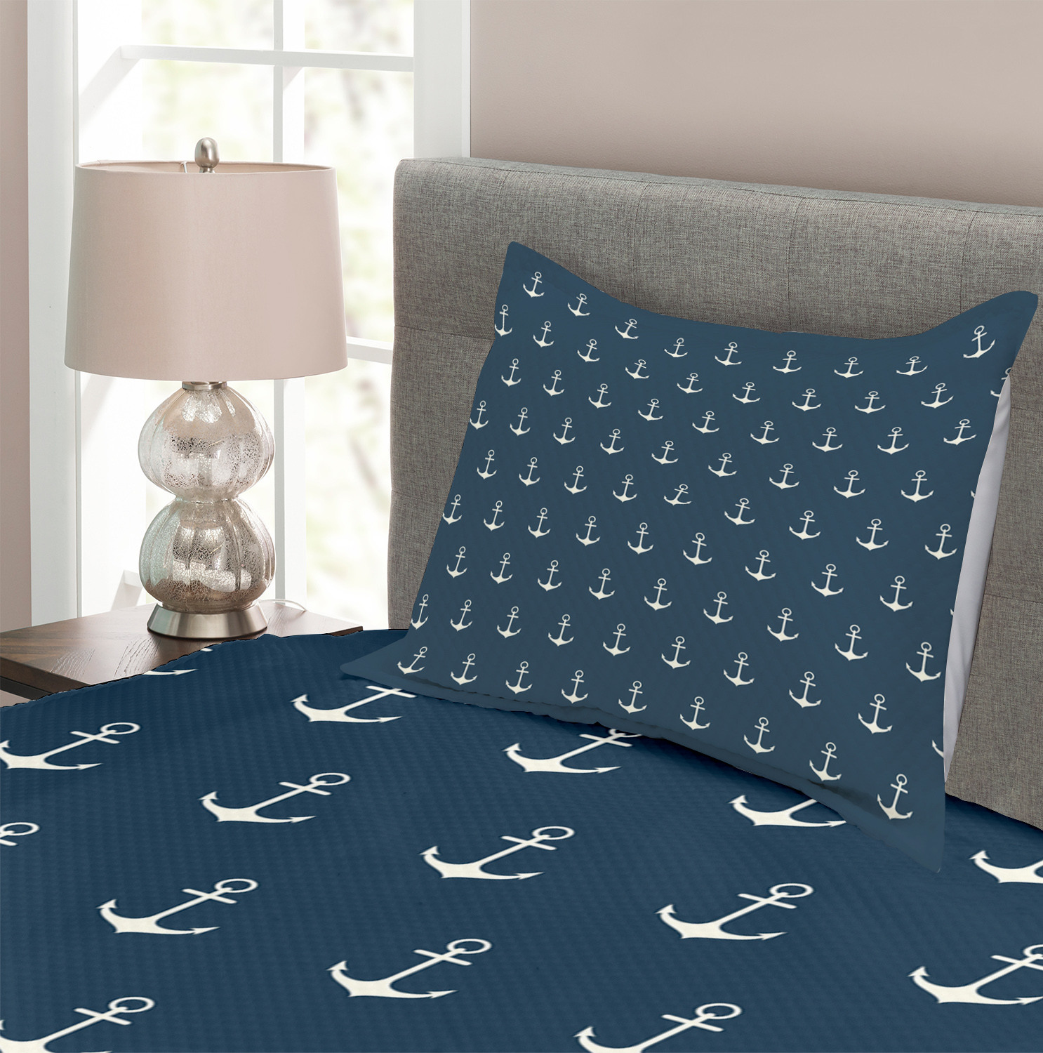 Anchor Quilted Bedspread /& Pillow Shams Set Nautical Simple Classic Print