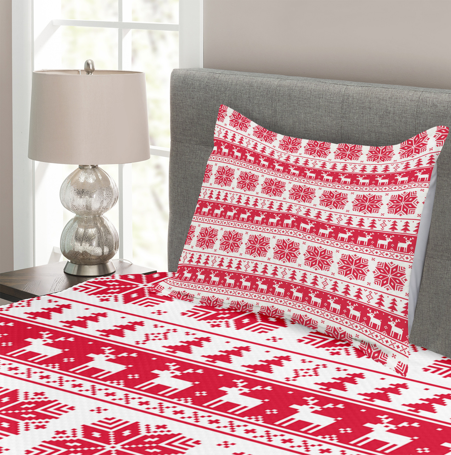 Details about  /Nordic Quilted Bedspread /& Pillow Shams Set Retro Nature Inspired Print