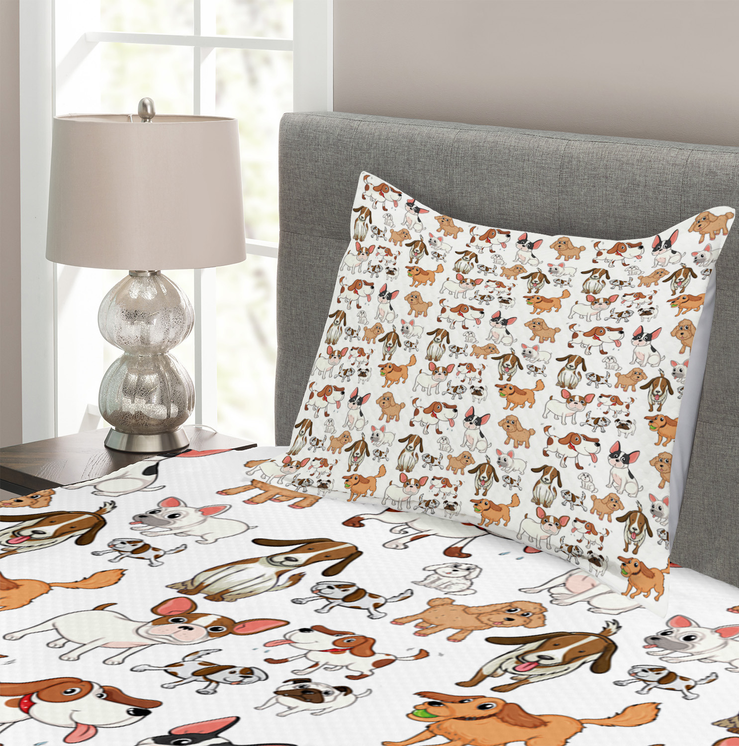 Cartoon Characters Print Dog Lover Quilted Bedspread /& Pillow Shams Set