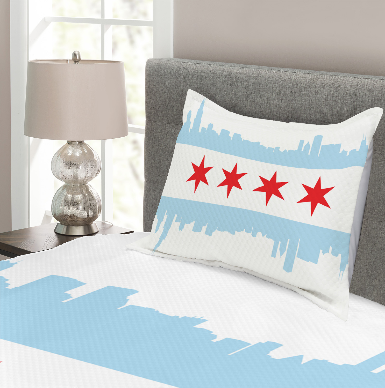 Chicago Skyline Quilted Bedspread /& Pillow Shams Set Buildings Flag Print