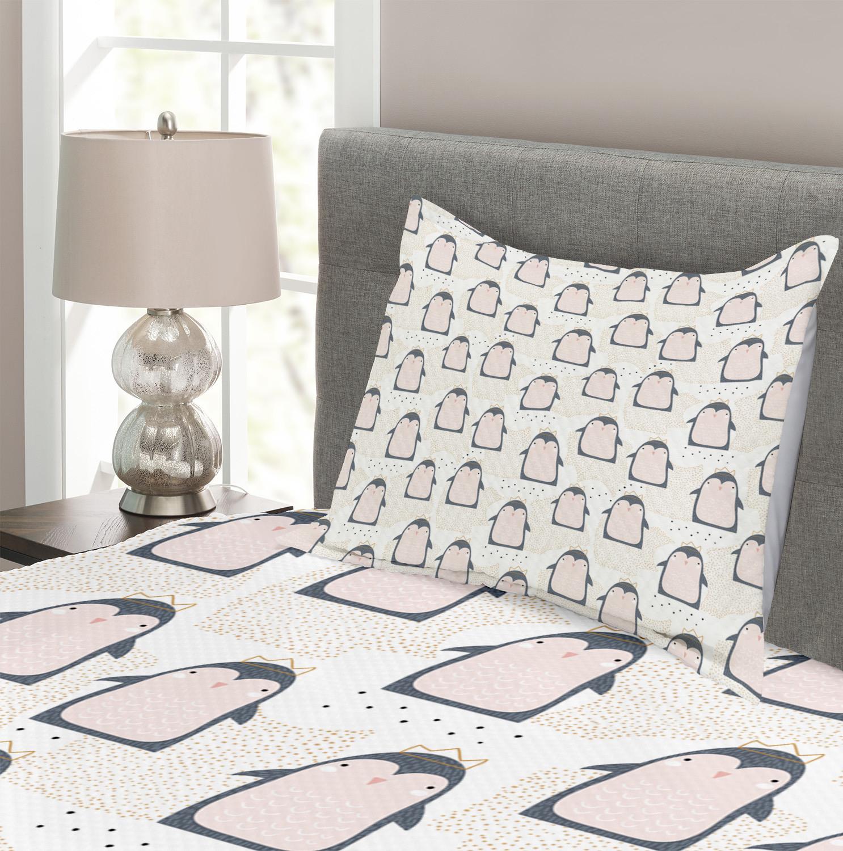 Penguin Quilted Bedspread /& Pillow Shams Set Sketch Antarctica Birds Print