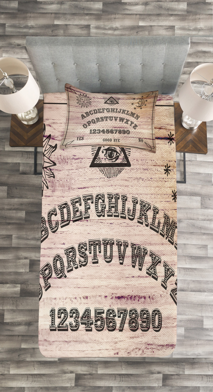 Wooden Texture Print Ouija Board Quilted Bedspread /& Pillow Shams Set