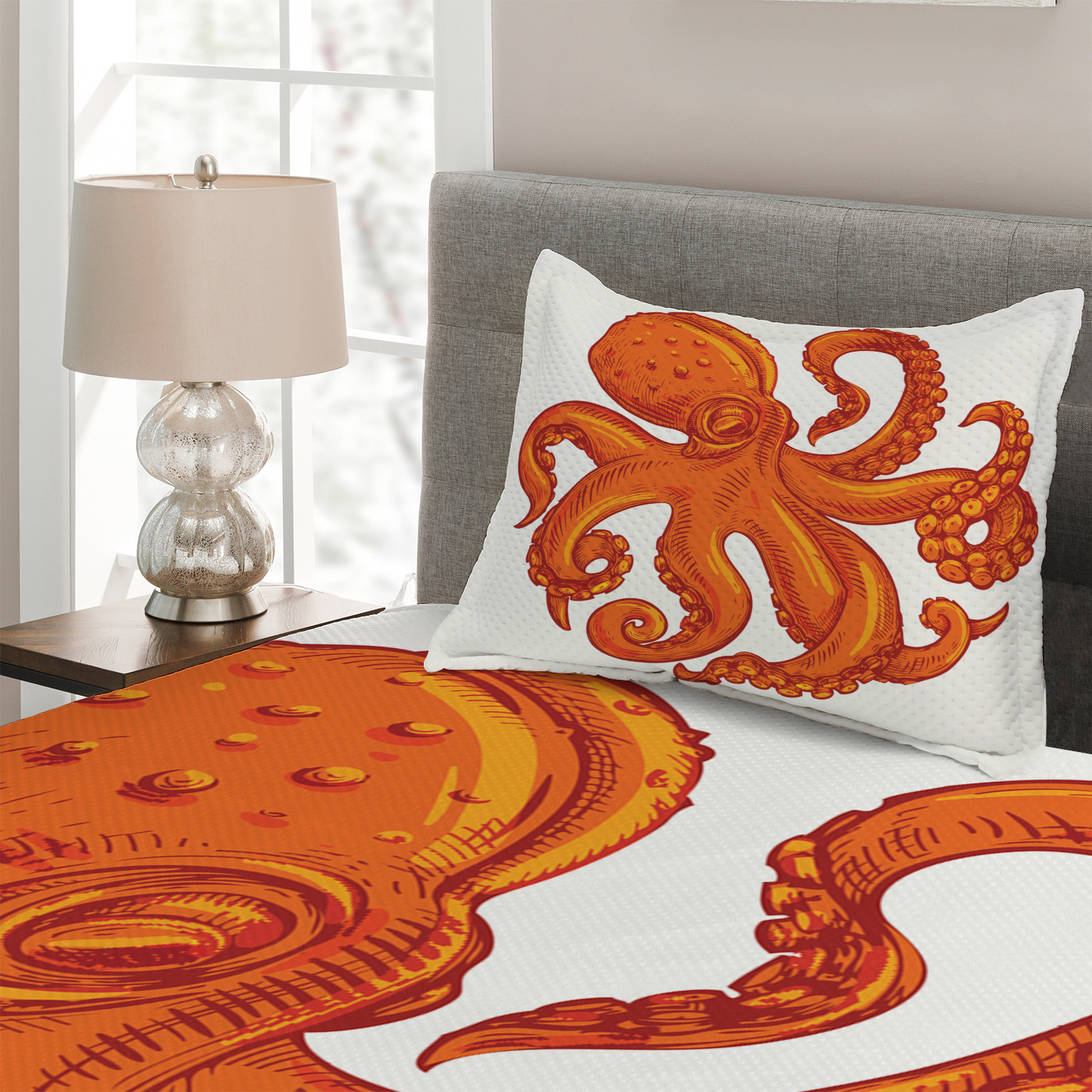 Orange Animal Wildlife Print Octopus Quilted Coverlet /& Pillow Shams Set