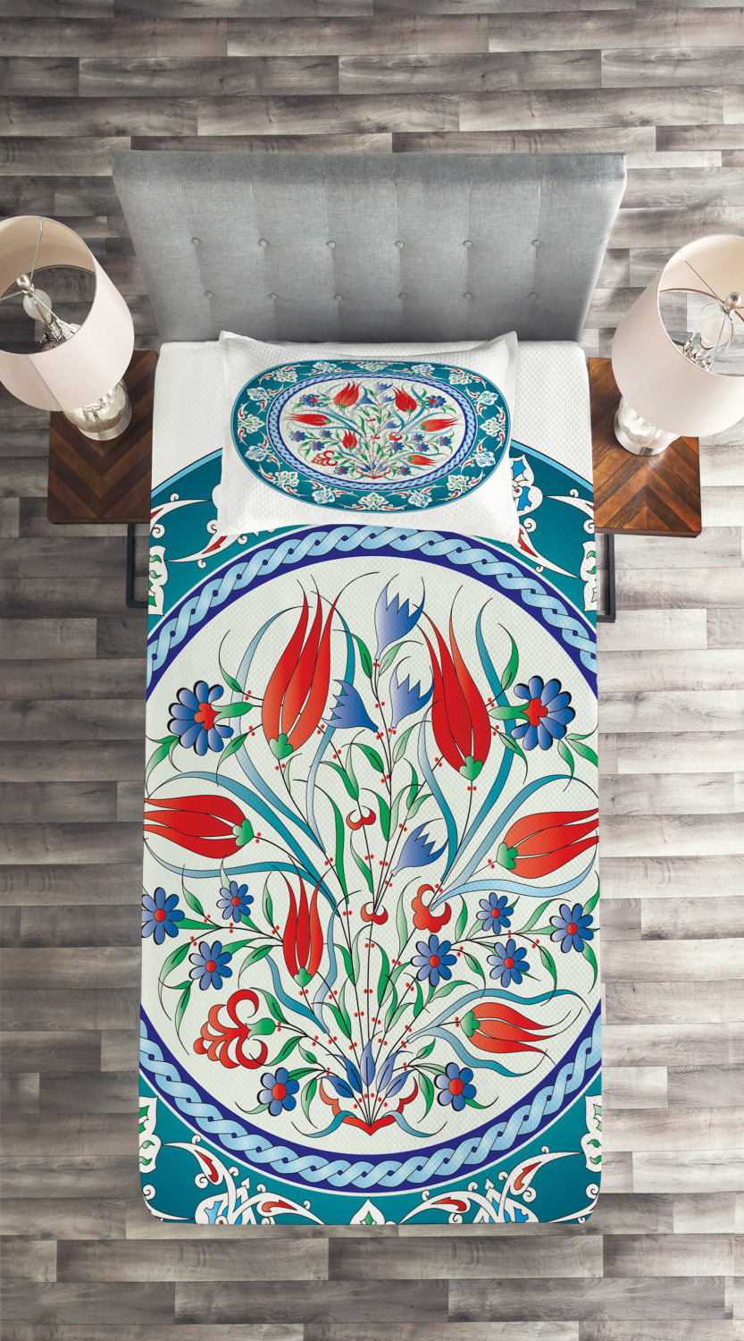 Teal Quilted Coverlet /& Pillow Shams Set Turkish Tulip Floral Art Print