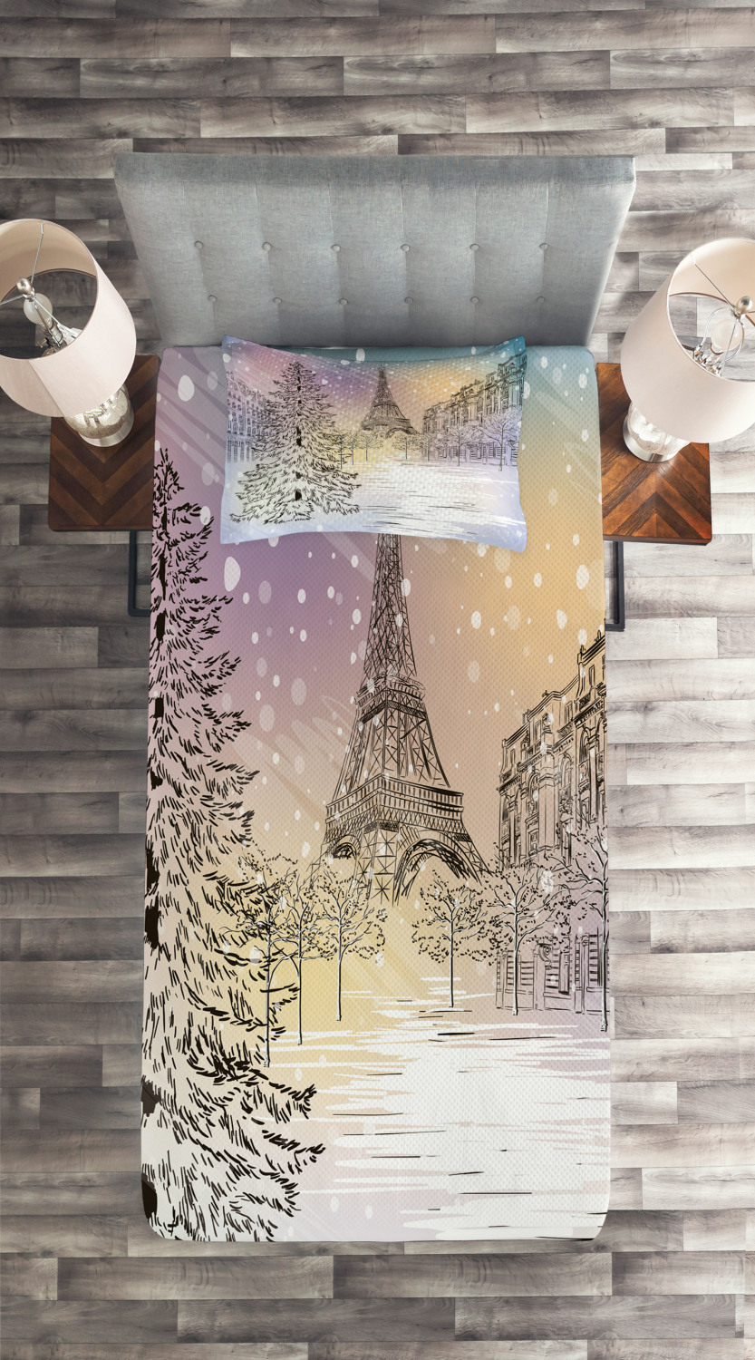 Details about  /Eiffel Quilted Coverlet /& Pillow Shams Set Winter Day at Paris Print