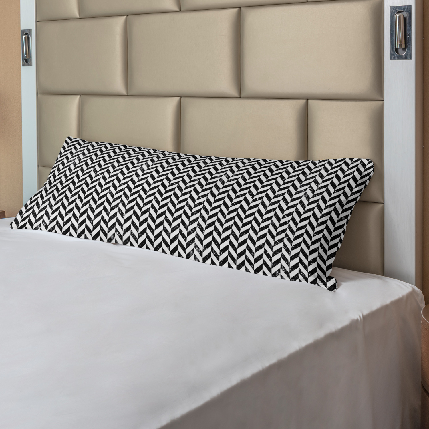 Ambesonne Chevron Zigzag Body Pillow Case Cover with Zipper Decorative Accent