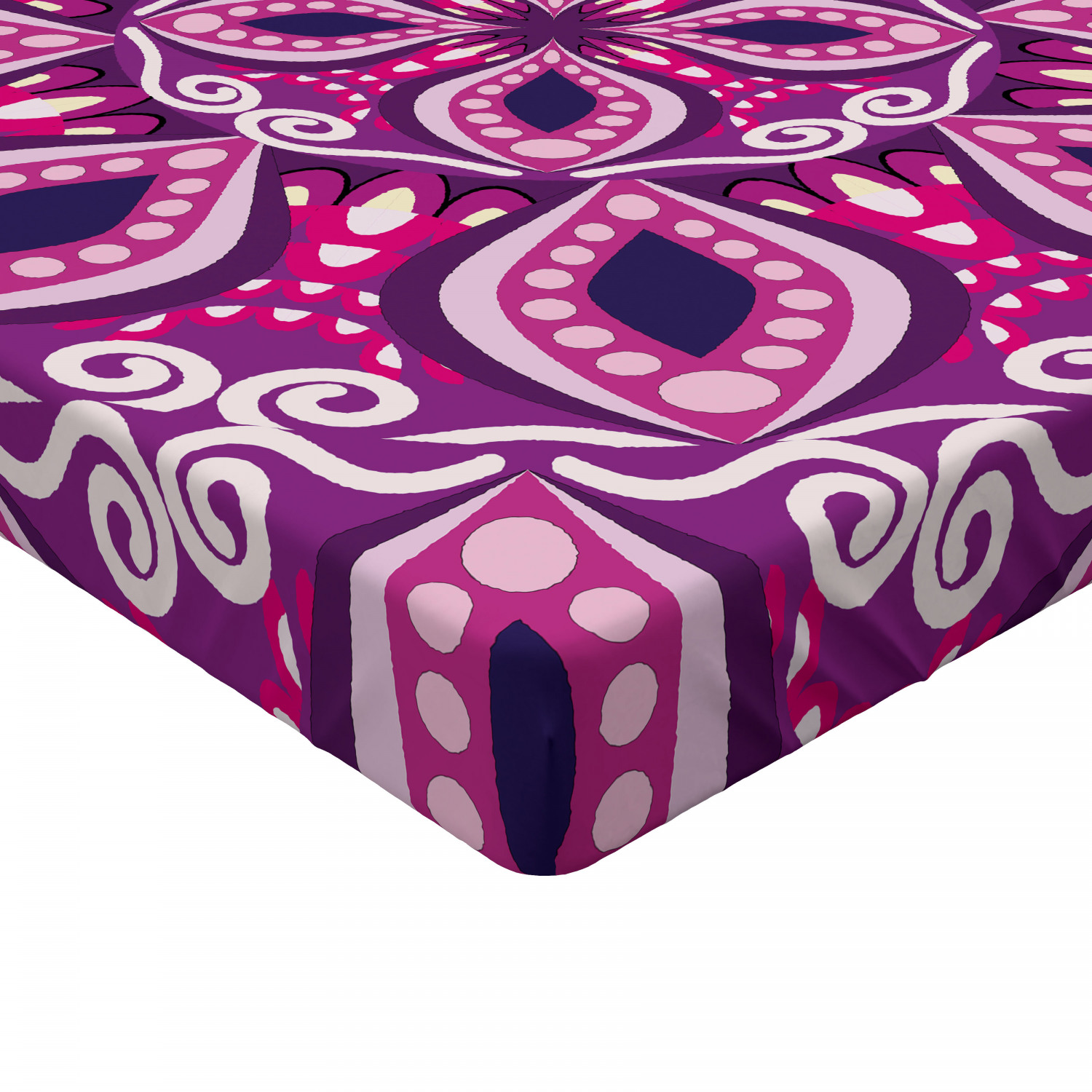 Retro Style Fitted Sheet Cover with All-Round Elastic Pocket in 4 Sizes
