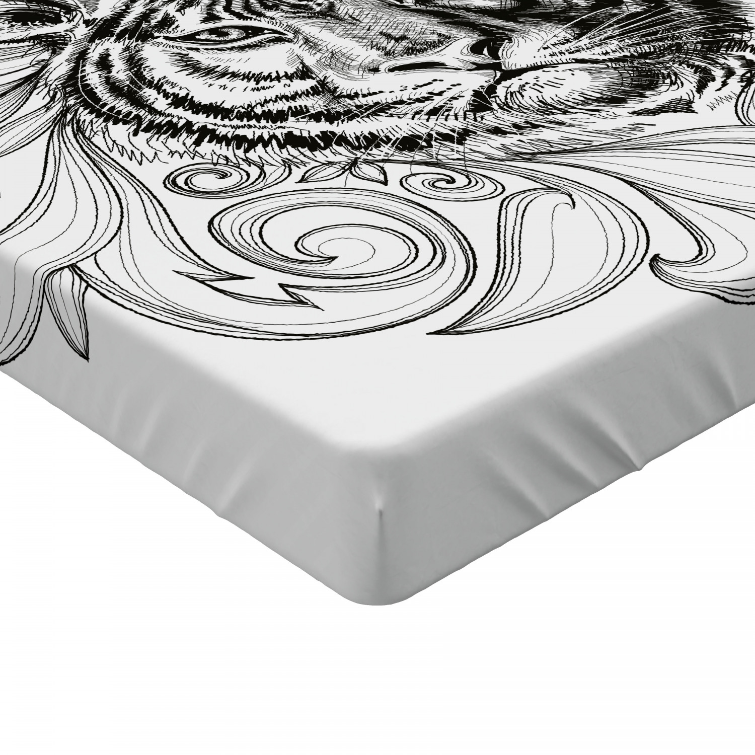 Tiger Fitted Sheet Cover with All-Round Elastic Pocket in 4 Sizes