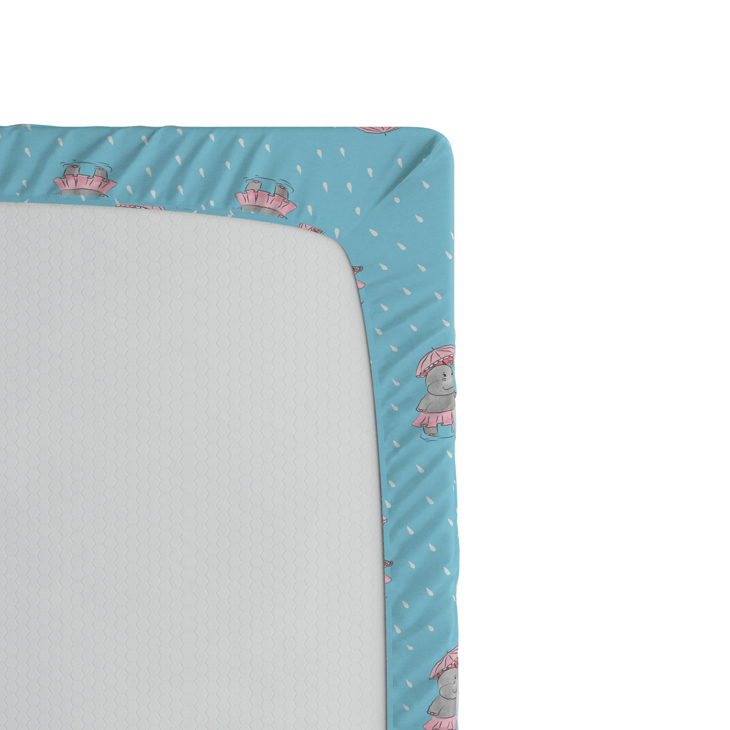 Hippo Fitted Sheet Cover with All-Round Elastic Pocket in 4 Sizes