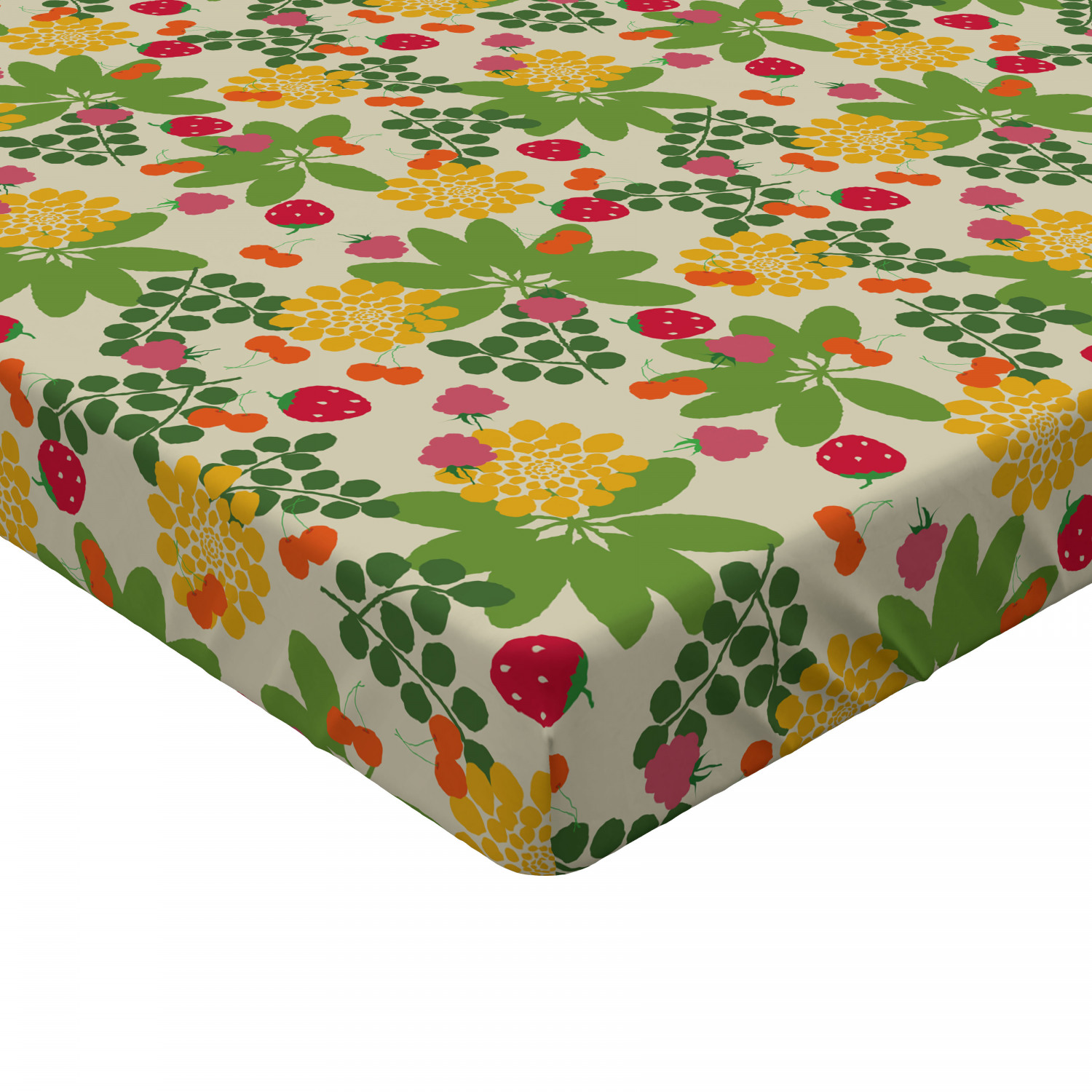 Strawberry Fitted Sheet Cover with All-Round Elastic Pocket in 4 Sizes