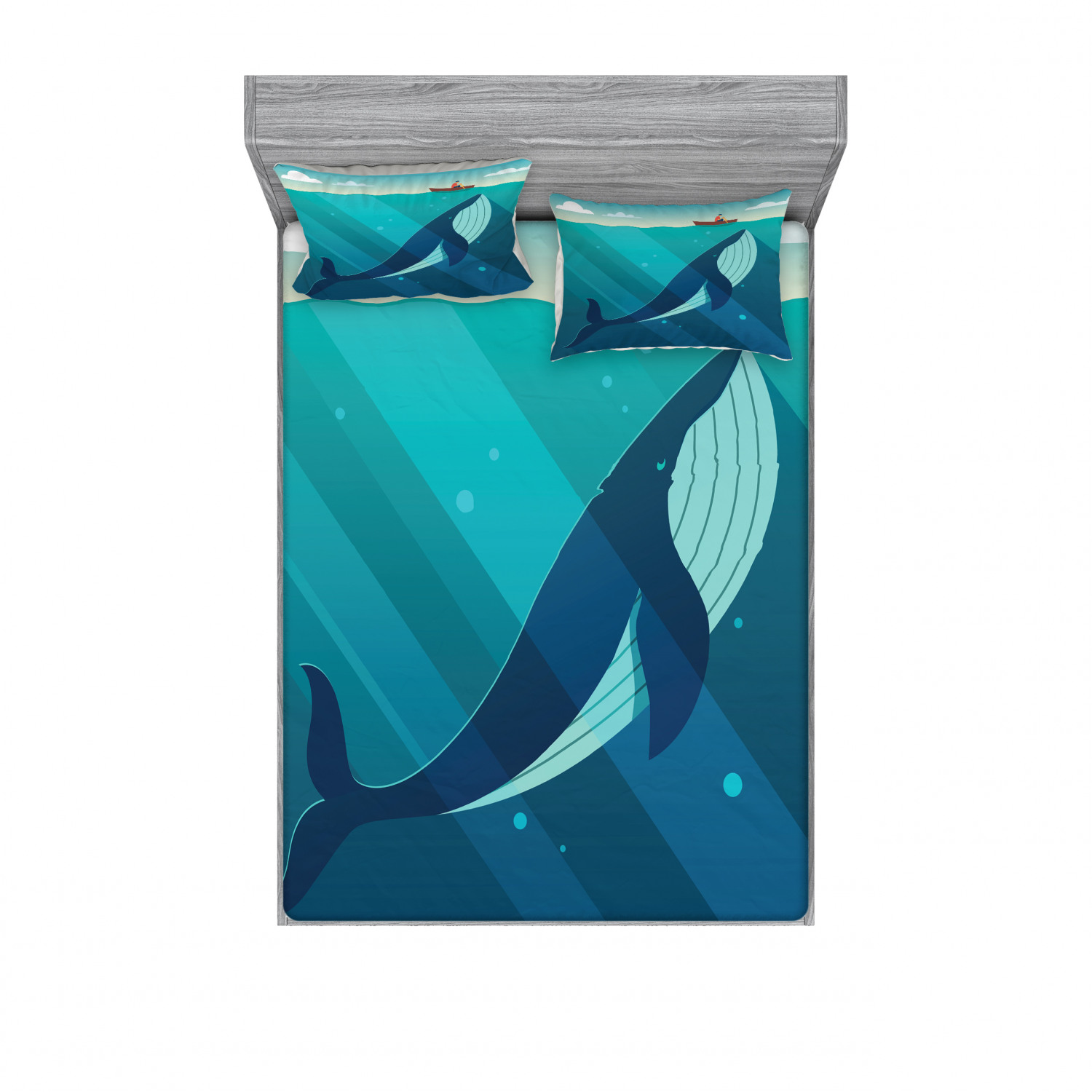Ambesonne Ocean View Fitted Sheet Pillow Sham Set Bedding Decor in 4 Sizes