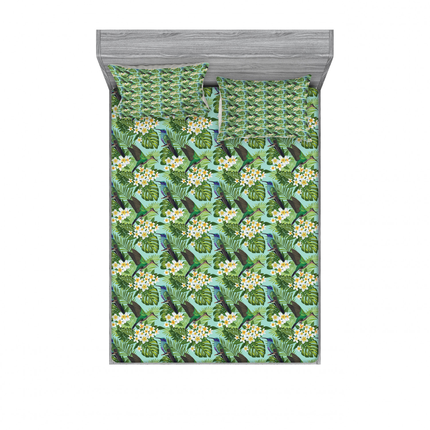 Details about  /Ambesonne Tropical Summer Fitted Sheet Pillow Sham Set Bedding Decor in 4 Sizes