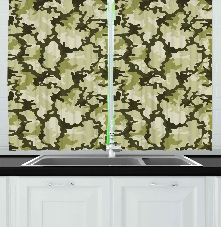 "Camo Kitchen Curtains 2 Panel Set Window Drapes 55/"" X 39/"" Ambesonne"