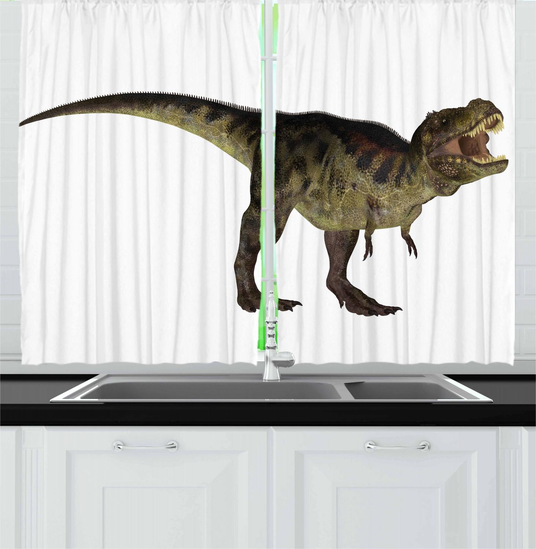 "Dinosaur Kitchen Curtains 2 Panel Set Window Drapes 55/"" X 39/"" Ambesonne"