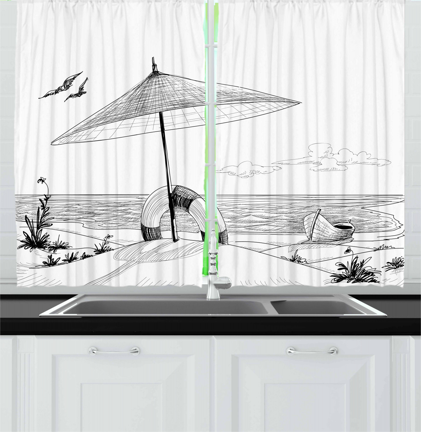 Beach Kitchen Curtains Decoration by Ambesonne Window Treatments 2 Panels