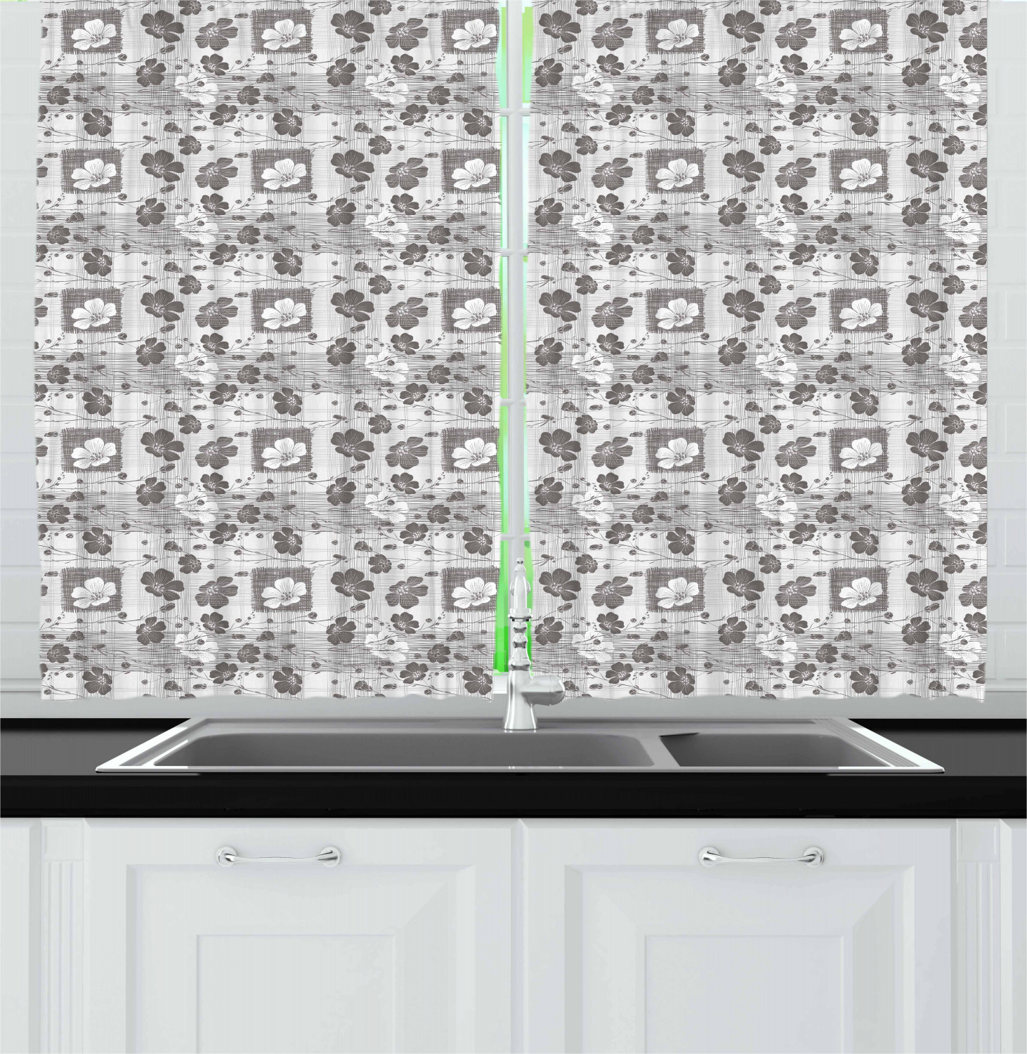 """Grey Kitchen Curtains 2 Panel Home Window Drapes 55/"""" X 39/"""" Ambesonne"""