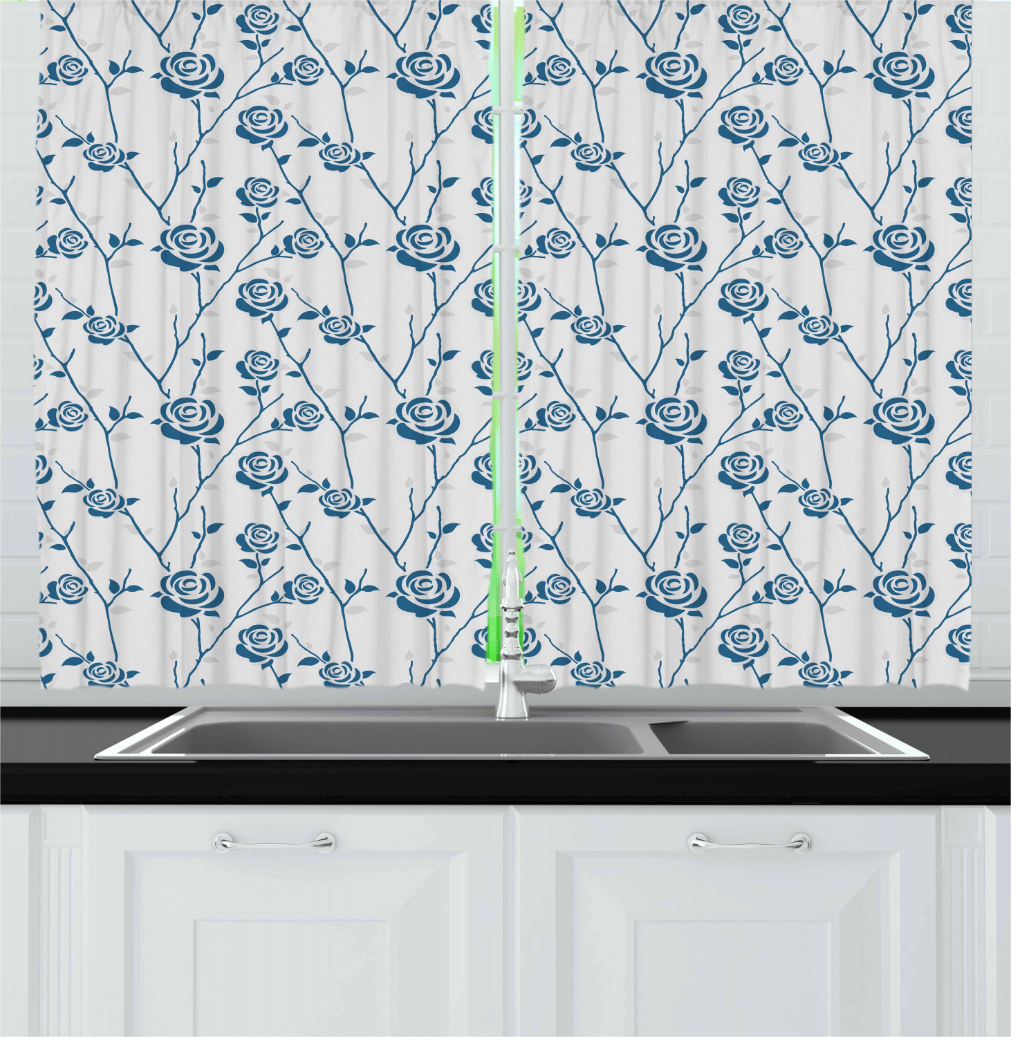 Blue Floral Kitchen Curtains 2 Panel Set Window Drapes 55 X 39 Ambesonne Garden Curtains Window Treatments Hardware