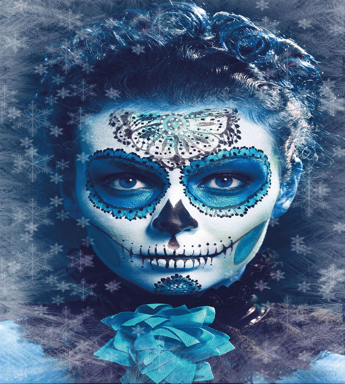 Sugar Skull Duvet Cover Set with Pillow Shams Frozen Dead Folk Print