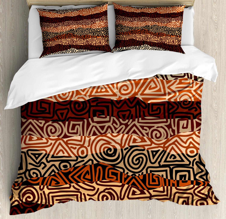 Vintage Duvet Cover Set with Pillow Shams Ethnic Strikes Pattern Print