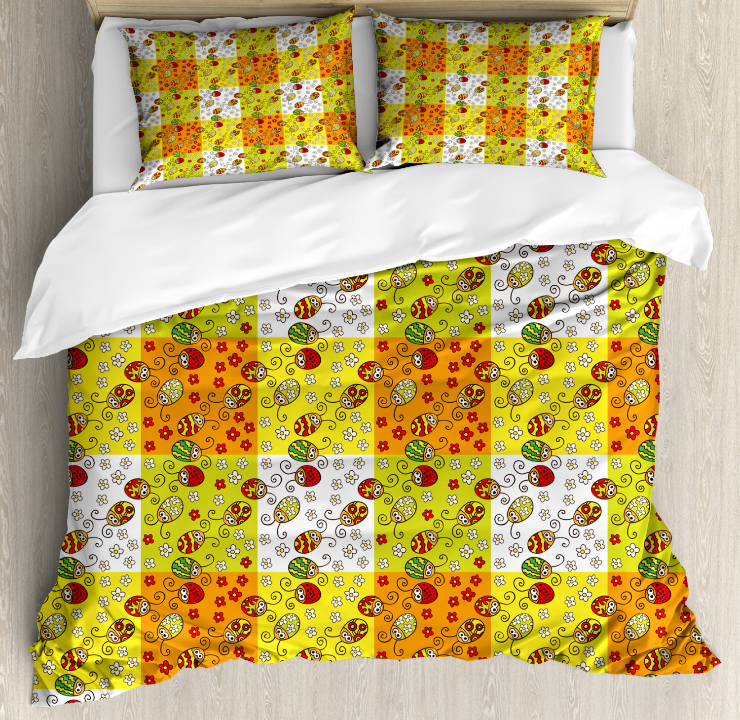 Ladybugs Duvet Cover Set Twin Queen King Sizes with Pillow Shams Ambesonne