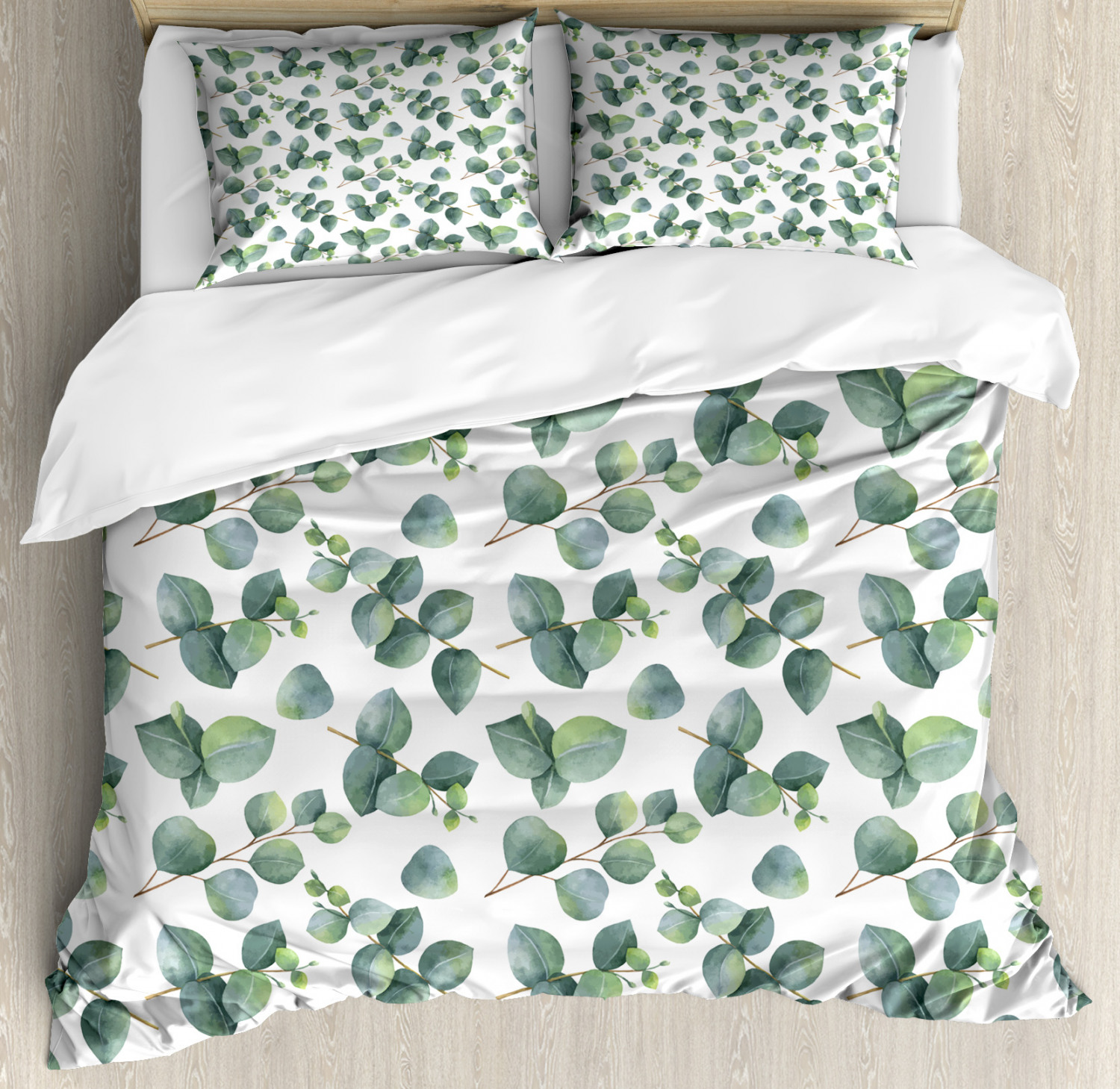 Leaf Duvet Cover Set with Pillow Shams Watercolor Eucalyptus Art Print