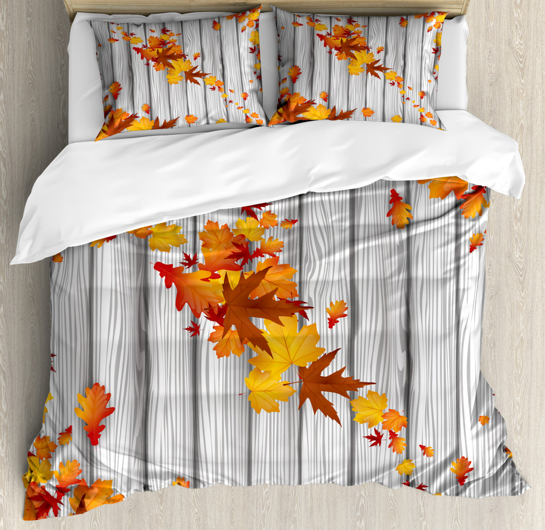 Herbst Bettbezug Set Fall Maple Leafs Baum Kuscheliges Gefühl Warm